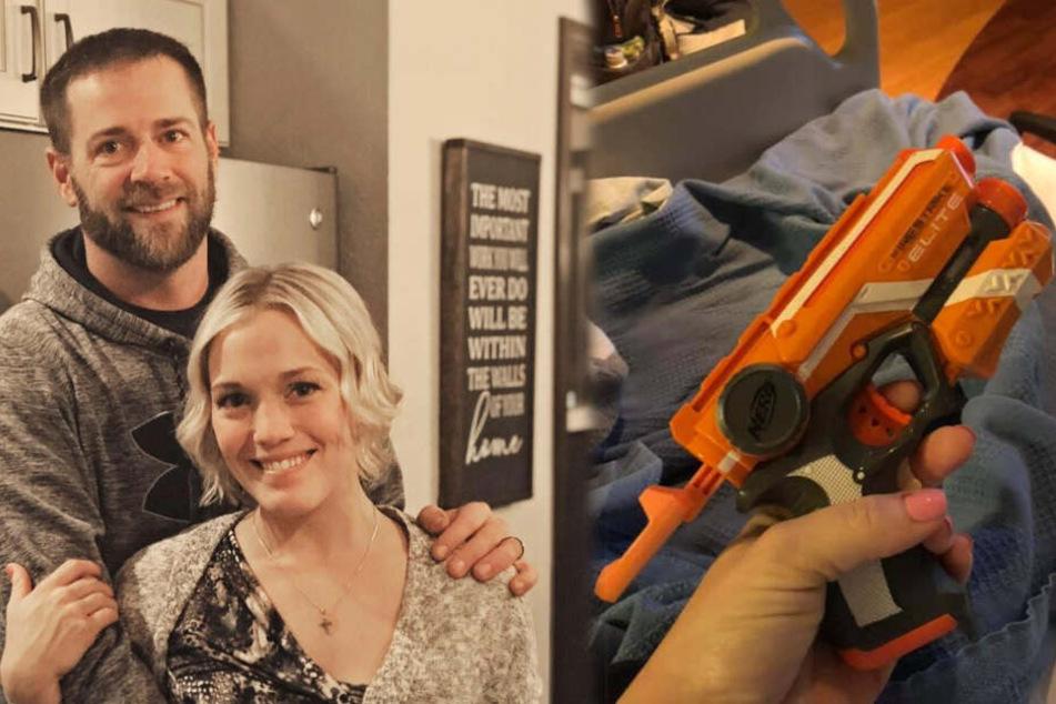 Frisch gebackene Mutter will Mann mit Spielzeugpistole wachhalten