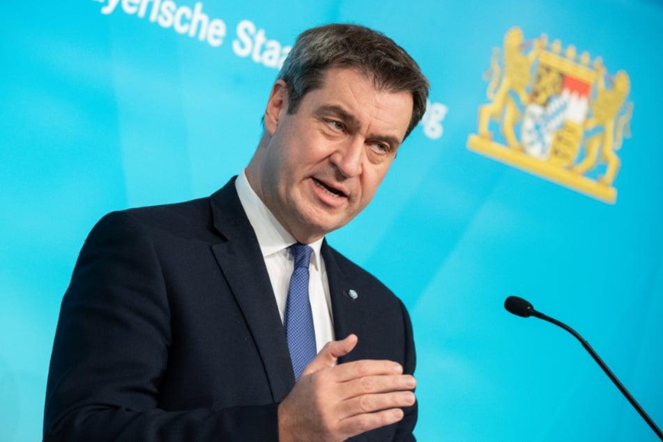 Markus Söder (CSU), Parteivorsitzender und Ministerpräsident von Bayern, bei der Verkündung der neuen Anti-Corona-Maßnahmen.