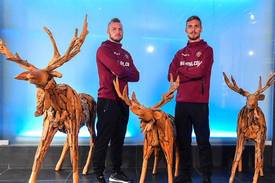 """Das """"Elch-Quintett"""": Brian Hamalainen (l.) und Linus Wahlqvist sind Dynamos Nordmänner."""
