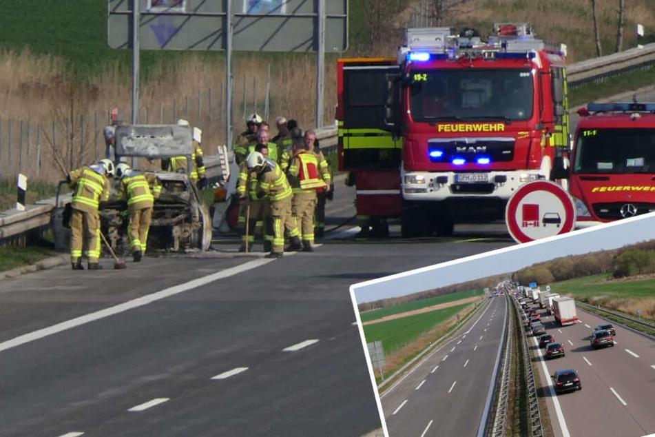 Verkehrschaos auf A14: Autobrand und Ölspur legen Autobahn lahm