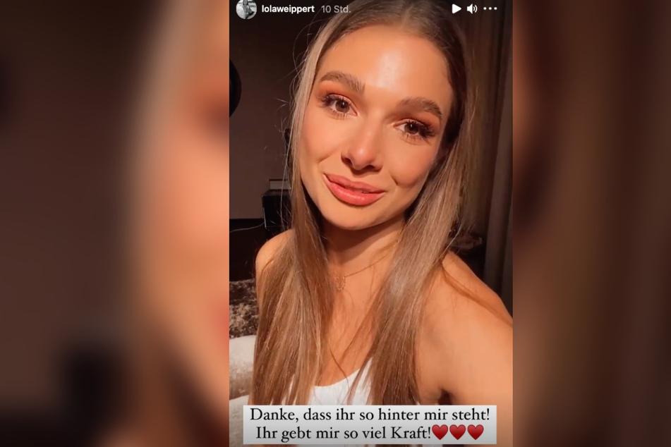 Lola Weippert rang nach der Show im Hotel mit ihren Gefühlen und bedankte sich bei ihren Fans auf Instagram für die Unterstützung.