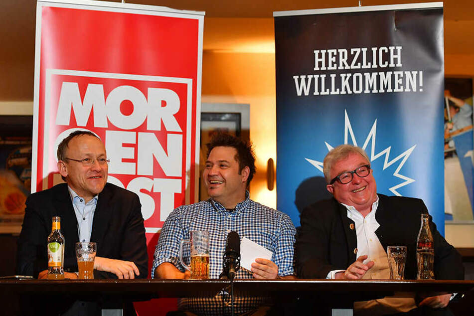 Dr. Peter Lames, Enrico Lucke und Eislöwen-Boss Volker Schnabel.