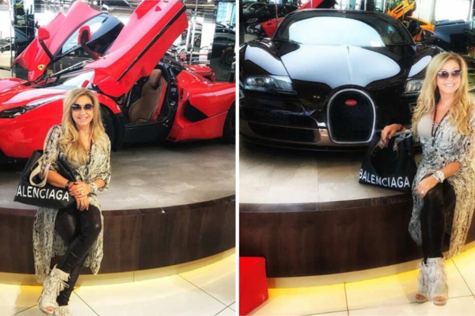 Roter Ferrari (li.l) oder schwarzer Bugatti? Die wahren Fans von Carmen Geiss wissen, wie sie sich entscheiden sollte.