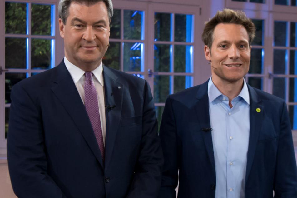 Markus Söder (l.) und Ludwig Hartmann (r.) standen sich in einem TV-Duell gegenüber.