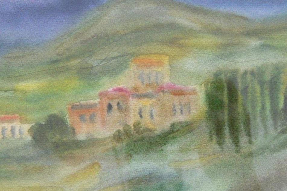 """Eines von über 4000 Kunstwerken aus der Wismut-Sammlung: Albert Hennigs  """"Landschaft"""" von 1986."""
