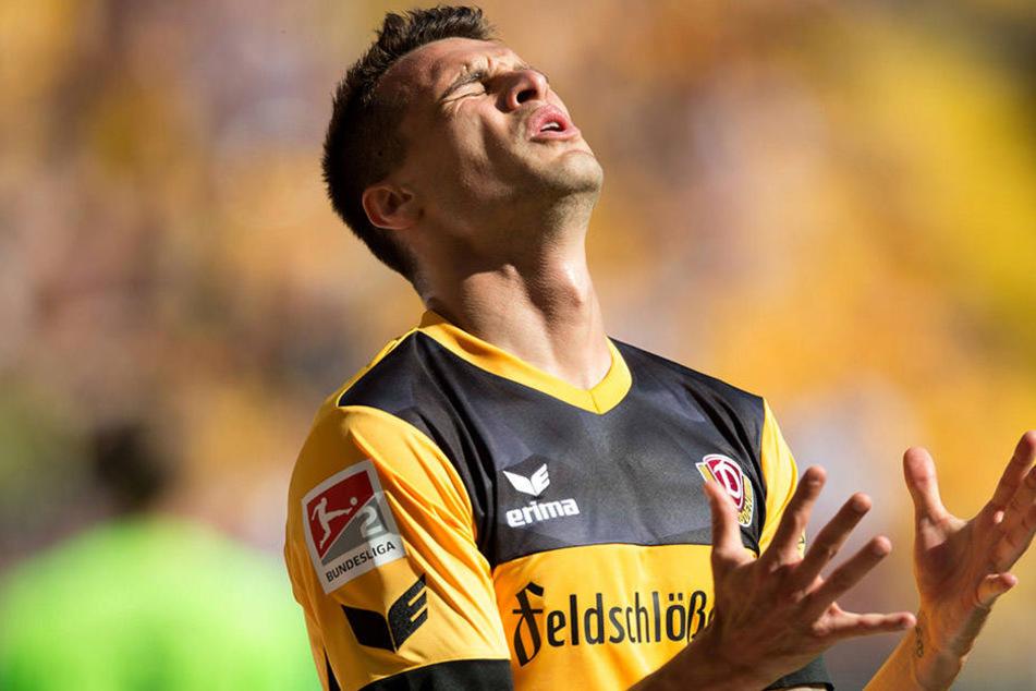 Philip Heise (26) hadert während der Dynamo-Niederlage gegen Union Berlin mit sich.