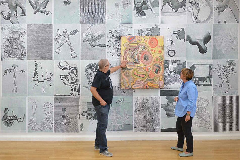 Markus Oehlen und Kuratorin Kerstin Drechsel eröffnetenam Freitag die neue Ausstellung.