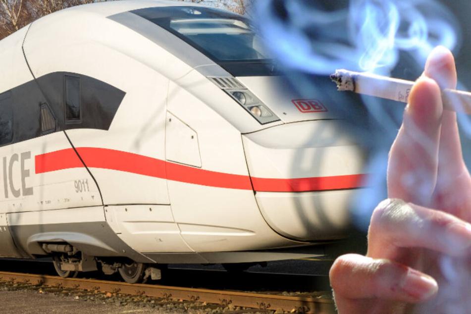 Unbekannter raucht auf Zug-Klo, der kann nicht weiterfahren. (Fotomontage)