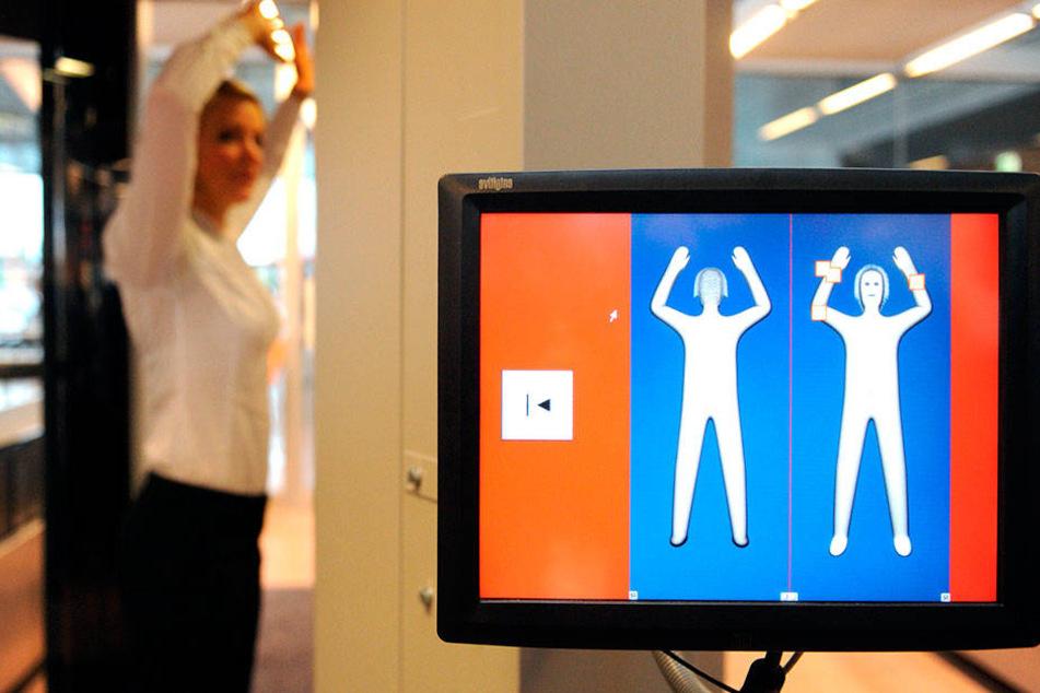Neue Technik Am Flughafen Körperscanner Durchleuchten Passagiere
