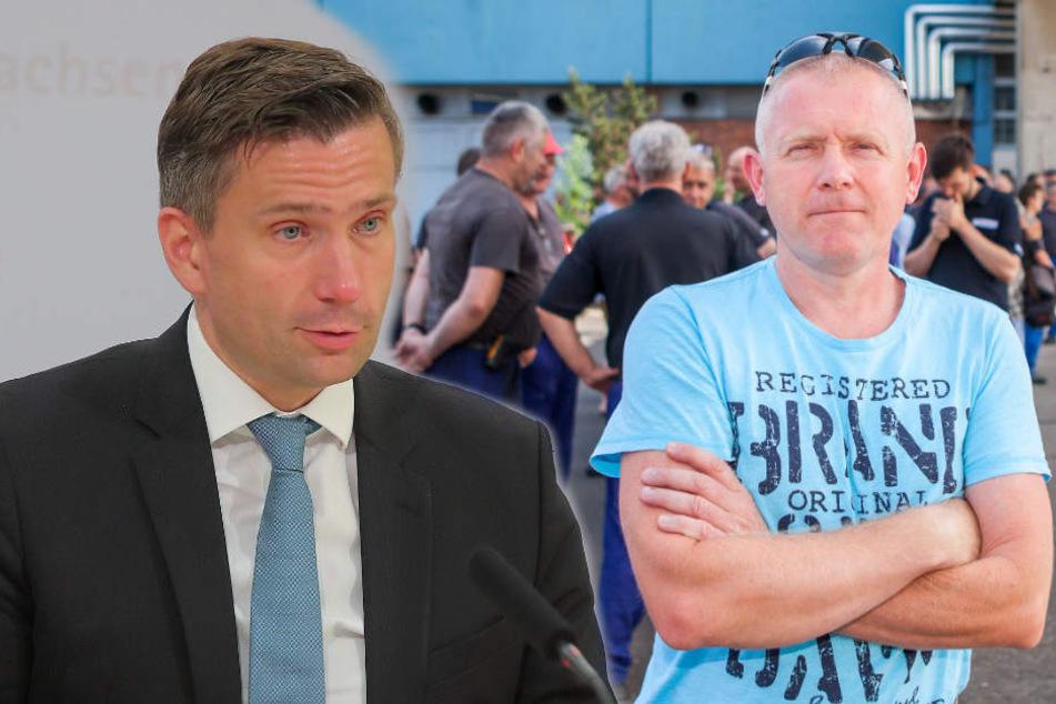 Hatte Unterstützung von Wirtschaftsminister Martin Dulig (l.) erwartet, wurde aber enttäuscht: Thomas Jürs (r.), Betriebsratschef der Halberg-Gießerei Leipzig.