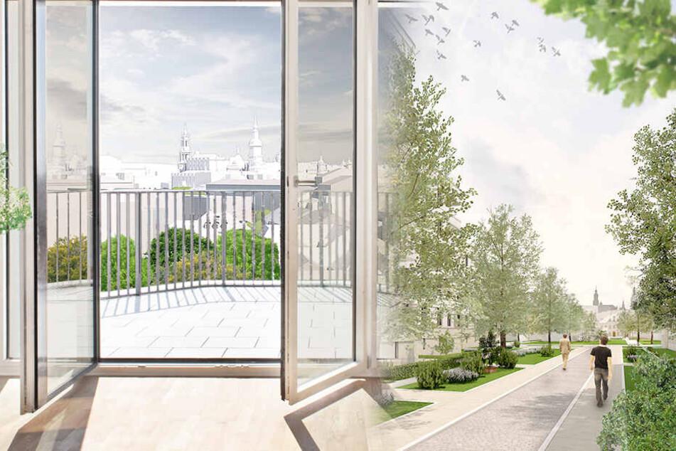 So sollen die Wohnungen und das Viertel am Bahnhof Mitte aussehen.