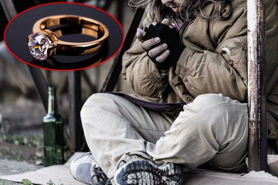 Obdachloser will wertvollen Ring klauen: Als Polizei ihn erwischt, kommt er auf eine unglaubliche Idee