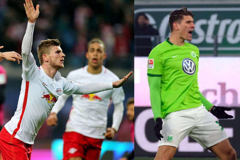 Timo Werner (l.) ist mit 14 Toren in Top-Form und Deutschlands zur Zeit bester Stürmer. Gomez ist zwar zehn Jahre älter, jedoch nicht minder gefährlicher.