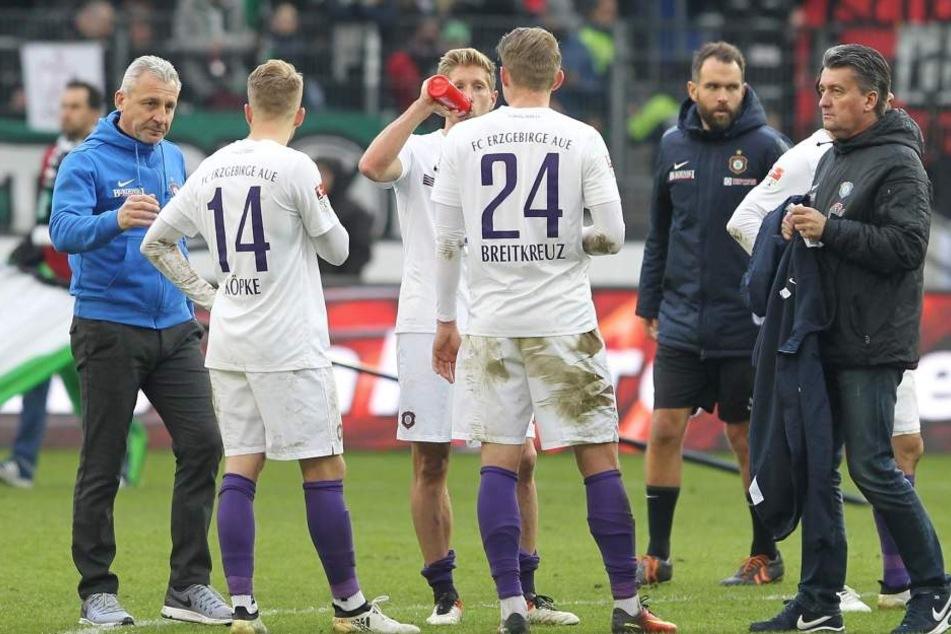 Betretene Mienen beim FC Erzgebirge.