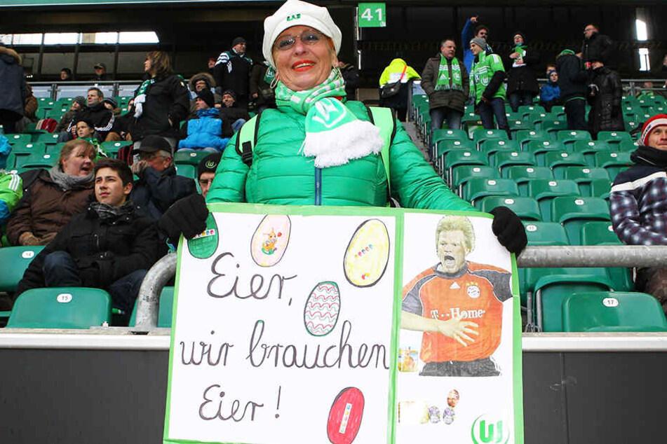 Zu Ostern beliebt: Hier malte eine Wolfsburg-Anhängerin ein Bild von Oliver Kahn und dessen bekanntesten Spruch.