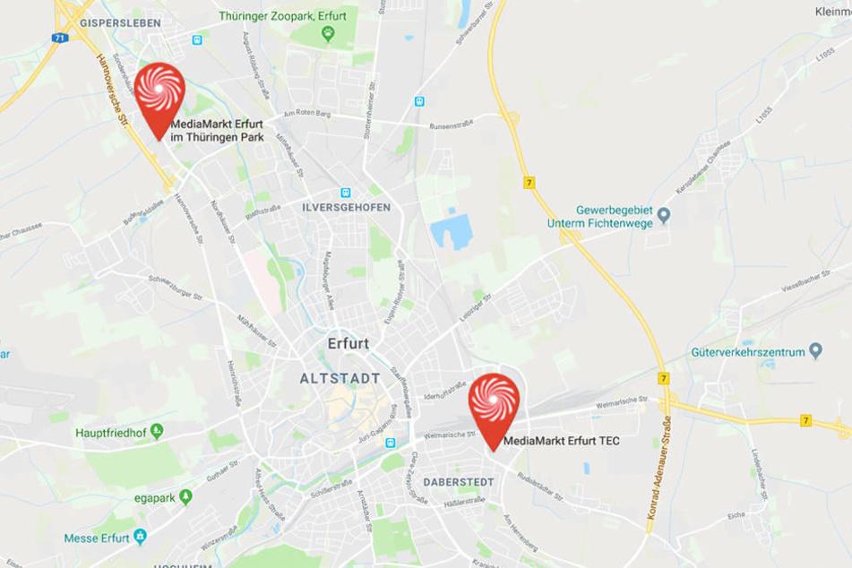 Erfurt hat zwei MediaMärkte.