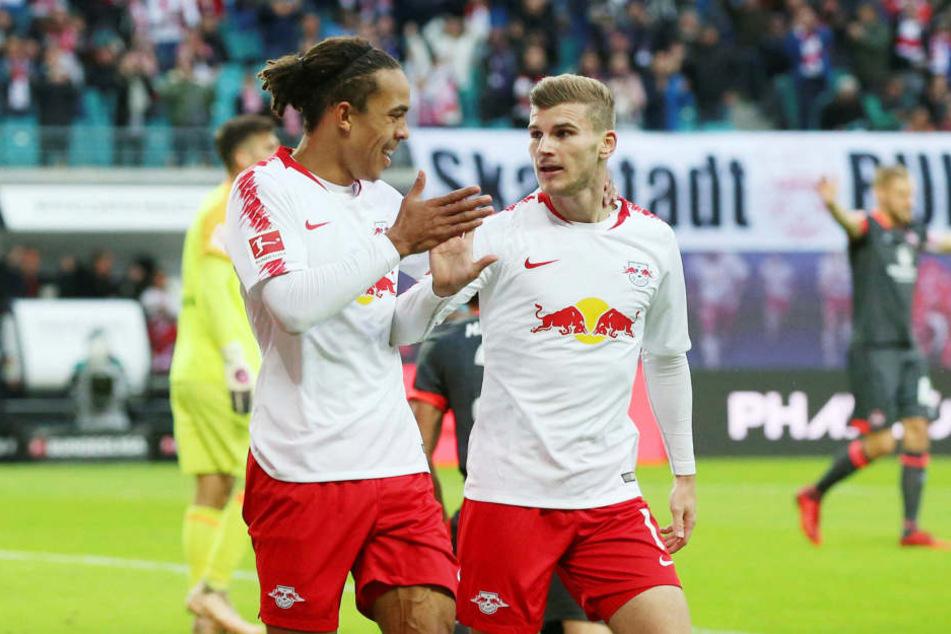 Yussuf Poulsen und Timo Werner werden RB Leipzig im wichtigen Europa-League-Spiel bei Celtic Glasgow am Donnerstag wohl fehlen.