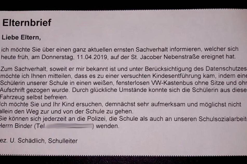 In diesem Elternbrief informierte die Schule über die versuchte Entführung.