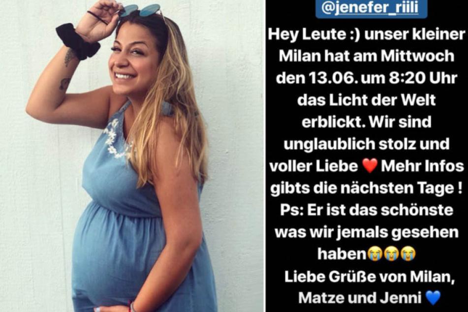 Mit diesem süßen Text verkündete Jenefer Riili (27) die Geburt ihres Sohnes Milan bei Instagram.
