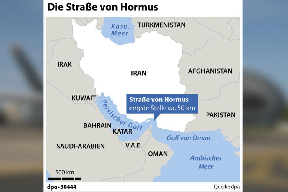 Iran und die Straße von Hormus mit angrenzender Ländern