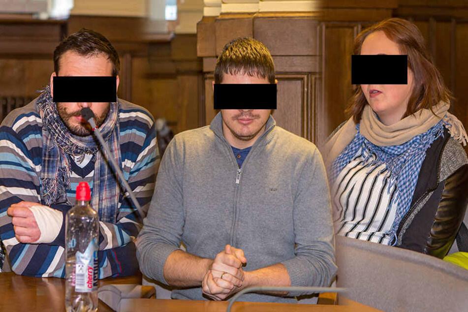 Die Angeklagte: Tobias K.,Martin K. undJasmin H. (v.l.n.r.)