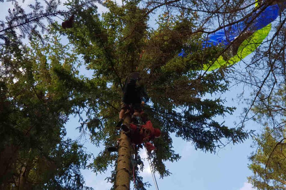 In 17 Metern Höhe hing der Gleitschirmflieger im Baum fest.