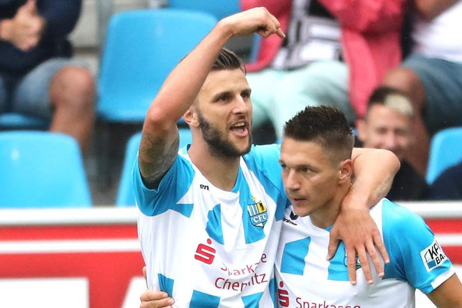 Dejan Bozic und Daniel Frahn (r.) - von 43 CFC-Treffern gehen 26 auf das Konto dieses Torjäger-Duos.