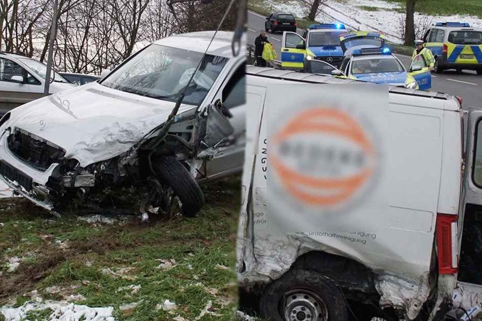 Mercedes kollidiert auf B10 mit Transporter: Ein Schwerverletzter