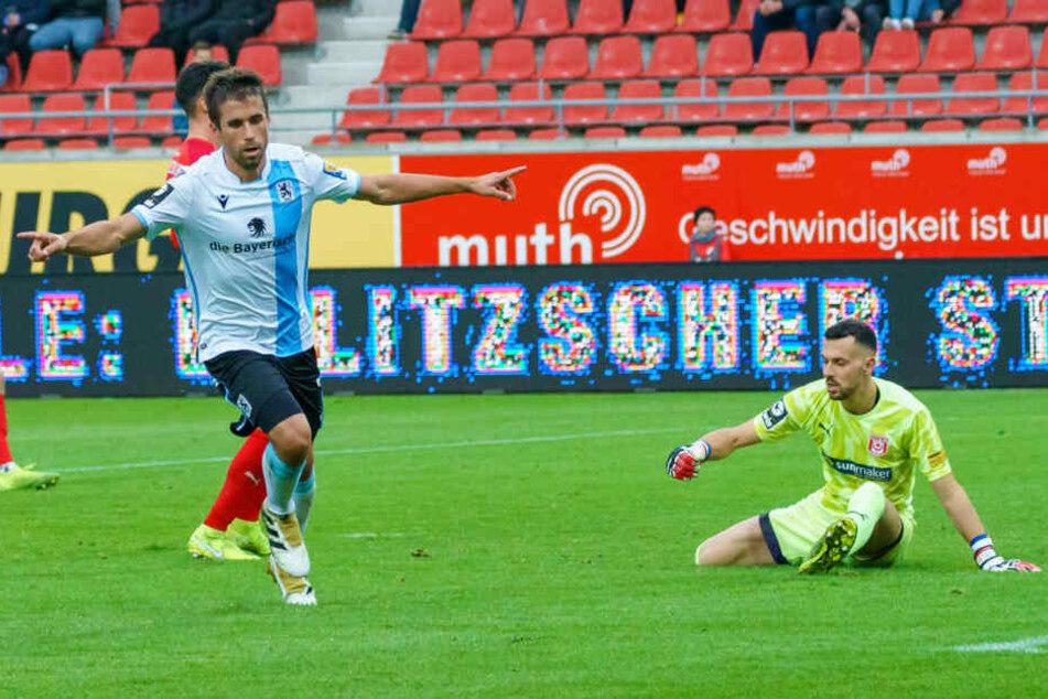 Stefan Lex schießt den TSV 1860 München mit seinem 2. Saisontor in Führung.