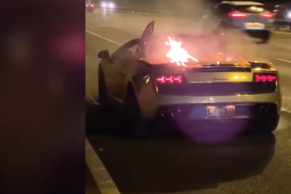 Frisch aus der Werkstatt: Goldener Lamborghini geht in Flammen auf