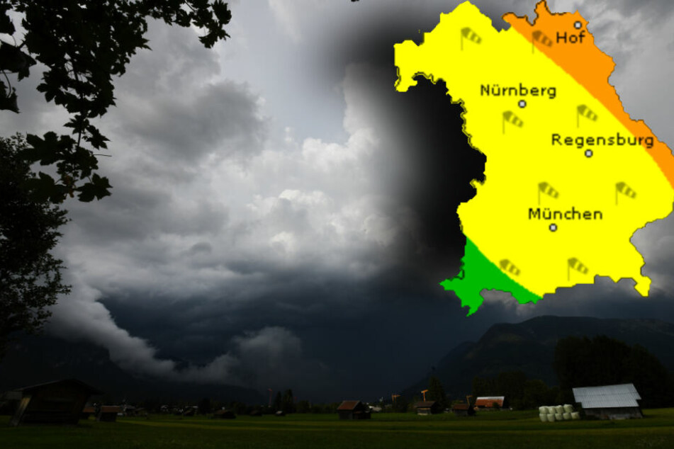Der Wochenstart wird in Bayern stürmisch, dann folgen Gewitter. (Bildmontage)