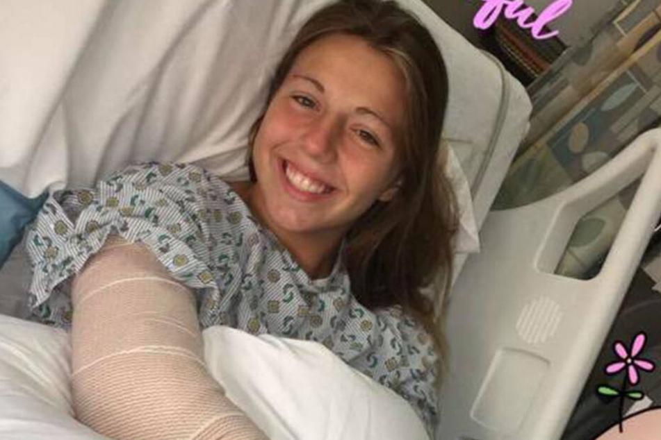 Trotz ihrer Verletzungen: Hanna Jones kann wieder lachen.