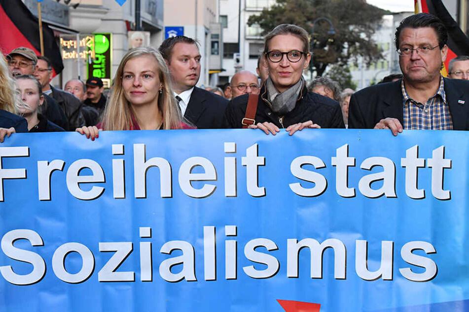 Im Bild: Die AfD-Mitglieder Wiebke Muhsal (31), Alice Weidel (38), und Stephan Brandner (51).