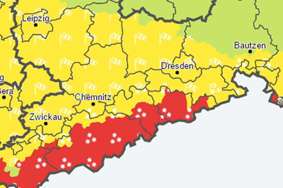 Lagen über 600 Meter sind von der Unwetterwarnung betroffen.