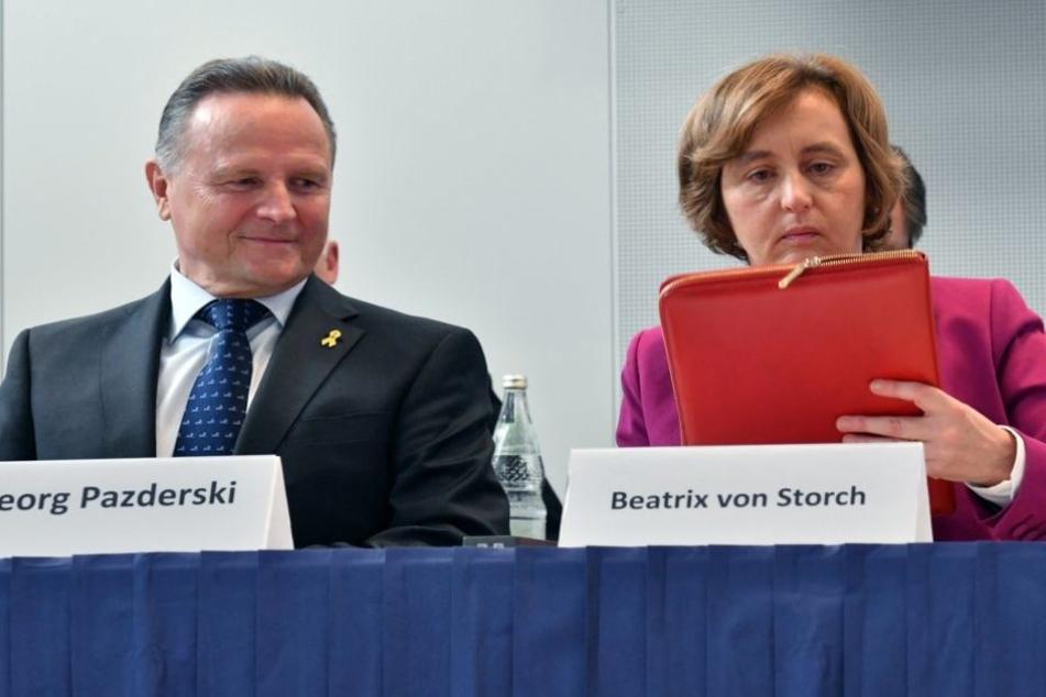 Beatrix von Storch und Georg Pazderski auf dem AfD-Landesparteitag in Berlin.