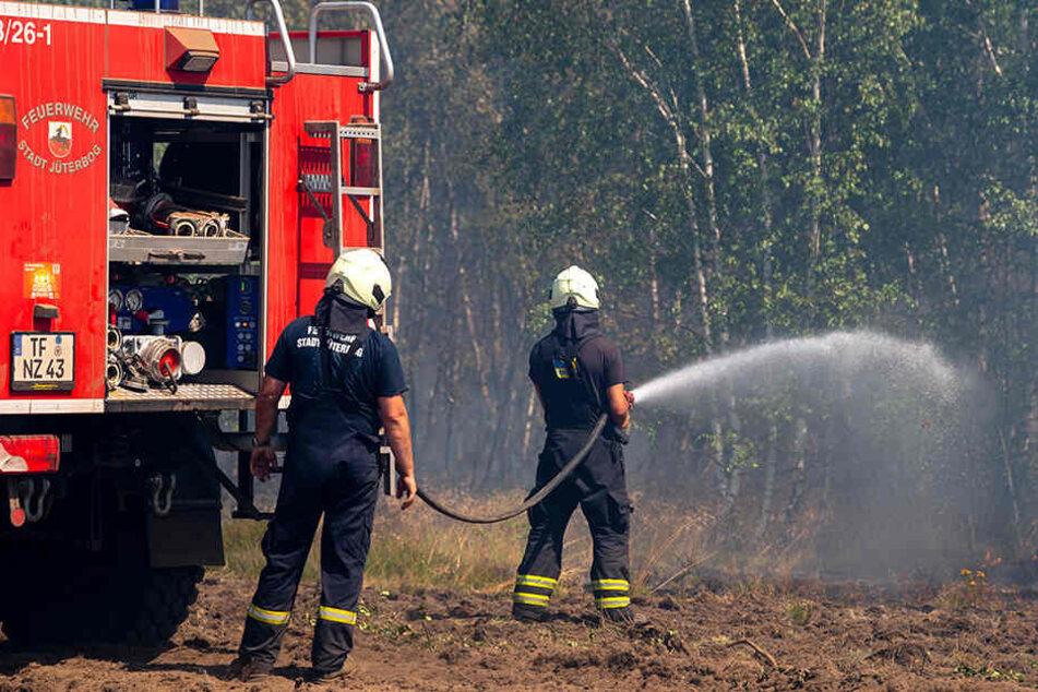 Alle Hände voll zu tun hatte die Feuerwehr bei einem Waldbrand in Jüterborg.