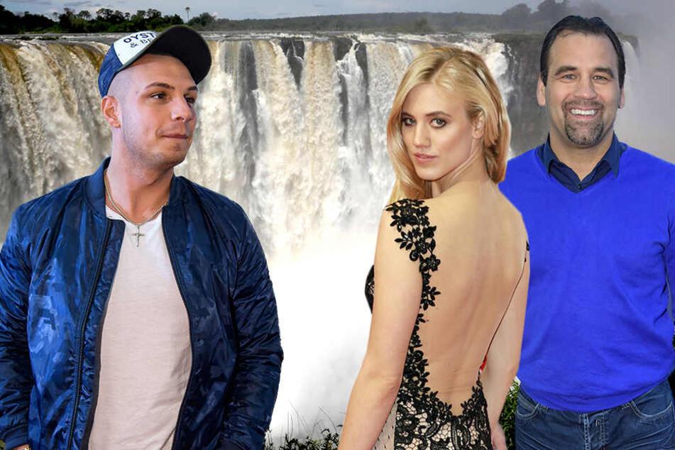 """Sänger Pietro Lombardi (24, li.), das Dschungelcamp-erprobte Model Larissa Marolt (24) und """"Der Schwatte"""" (51)."""