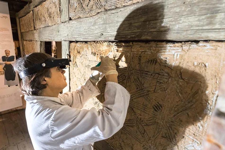 Restauratorin Claudia Herrmann festigt eine historische Lehmstakenwand im Dachgeschoss der Priesterhäuser.