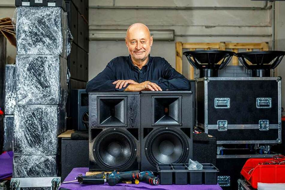 Boxen-King Peter Studt ist mit seiner Firma Studt-Akustik der lauteste Mieter  im Radebeuler Gewerbehof in der Birkenstraße. Wenn er seine Klangkörper voll  aufdreht, fällt der Küchenschrank um.