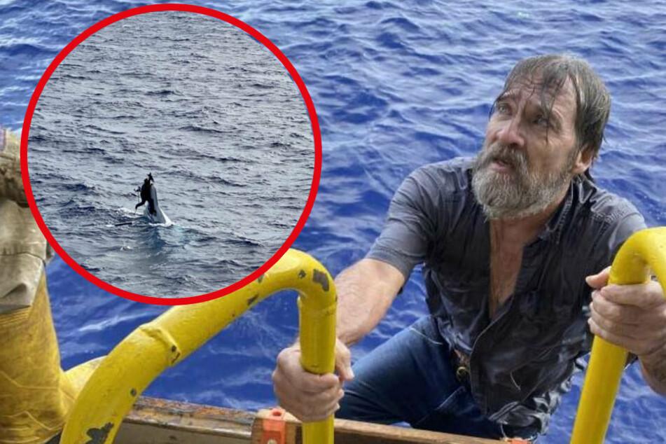 Die unglaublichen Bilder von der Rettung des Mannes stammen von der US-Küstenwache. Der Amerikaner Stuart Bee (62) hielt sich an seinem sinkenden Bootsrumpf fest, als er gefunden wurde.
