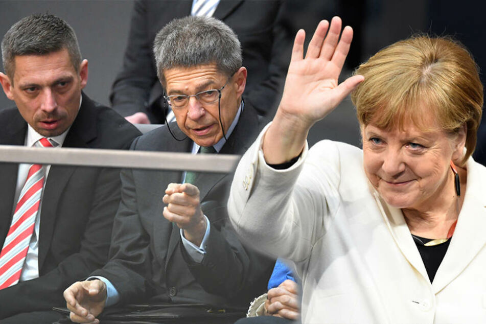 Merkels Ehemann Joachim Sauer (68) neben seinem Sohn Daniel im Bundestag.
