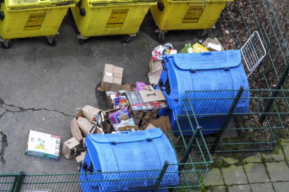 Dieser Müll häufte sich über die Weihnachtstage in der Ludwig-Kühn-Straße an.