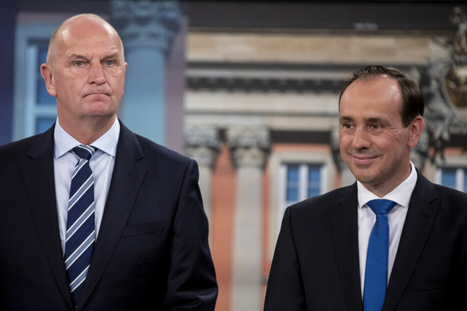 Die CDU, unter Leitung von Ingo Senftleben (r.), sei der stärkste Partner, sagte Dietmar Woidke (l.) am Montag in Berlin.