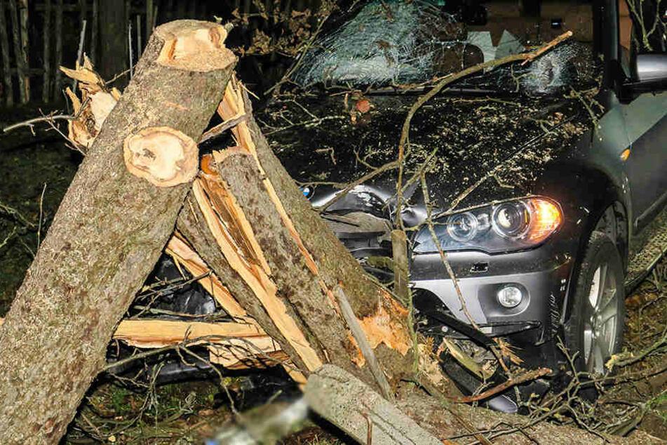 Der Fahrer musste aus dem Auto befreit werden und wurde ins Krankenhaus gebracht,