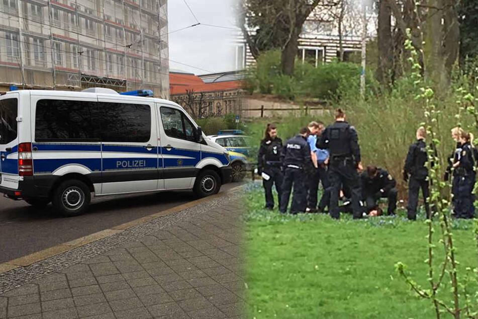 In dem kleinen Park hinter der Oper rastete der Mann aus. Die Polizei nahm ihn vorläufig fest.