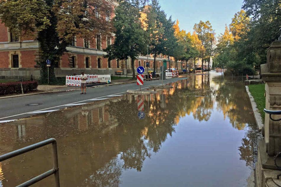Der Wasserrohrbruch flutete teile der Zwickauer Innenstadt.