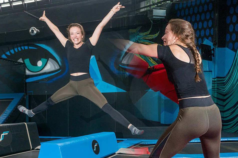 Fitness-Queen testet Dresdens größte Hüpfburg