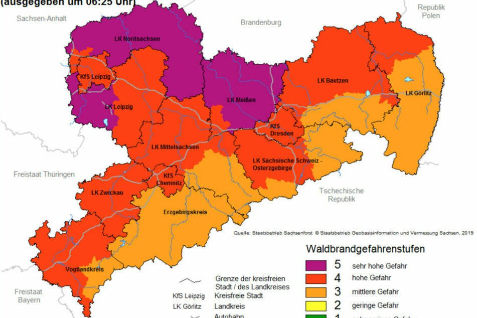 Die aktuelle Waldbrandgefahrenstufen für Sachsen.