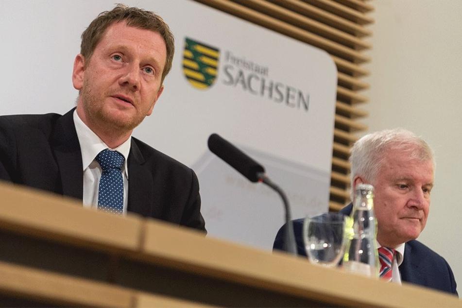 Michael Kretschmer (43, CDU) begrüßte Horst Seehofer (68, CSU).