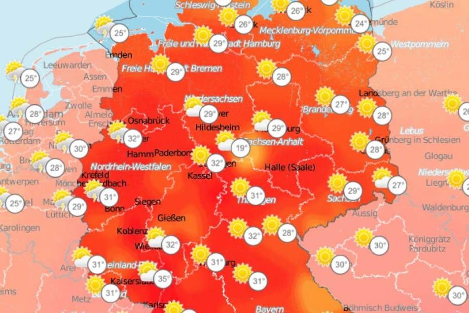 Am Mittwoch erreichen die Temperaturen in Deutschland den Wochenrekord.